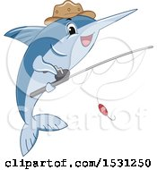 Marlin Fish Mascot Wearing A Hat And Holding A Fishing Pole