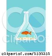 Clipart Of A Fish In An Erlenmeyer Flask Royalty Free Vector Illustration
