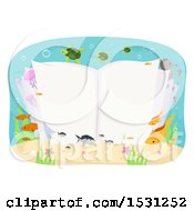 Clipart Of An Open Book Underwater Surrounded By Sea Life Royalty Free Vector Illustration