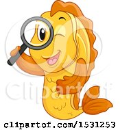 Clipart Of A Fish Mascot Searching With A Magnifying Glass Royalty Free Vector Illustration