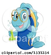 Clipart Of A Fish Mascot Holding A Science Flask Royalty Free Vector Illustration