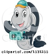 Clipart Of A Fish Mascot Taking Pictures Royalty Free Vector Illustration by BNP Design Studio