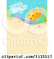 Clipart Of A Happy Birthday Greeting And Fish Over Sand Royalty Free Vector Illustration