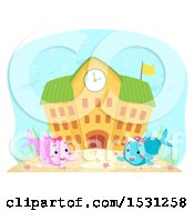 Clipart Of A School Building With Fish Students Royalty Free Vector Illustration