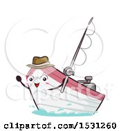 Clipart Of A Motor Boat Mascot Holding A Fishing Pole Royalty Free Vector Illustration