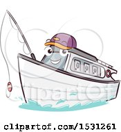 Yacht Mascot Holding A Fishing Pole