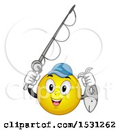Poster, Art Print Of Yellow Emoji Smiley Holding A Fishing Pole And Fish