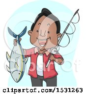 Clipart Of A Happy Man Holding A Fishing Pole And A Tuna Royalty Free Vector Illustration