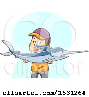Clipart Of A Man Holding A Blue Marlin Fish Royalty Free Vector Illustration