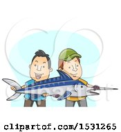 Clipart Of Men Holding A Sailfish Royalty Free Vector Illustration