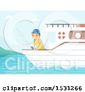Clipart Of A Man Fishing From A Boat Royalty Free Vector Illustration