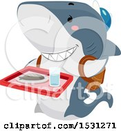 Clipart Of A Shark Student Carrying A Cafeteria Tray Royalty Free Vector Illustration