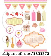 Clipart Of Ice Crream And Toppings Royalty Free Vector Illustration