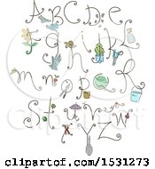 Clipart Of A Gardening Alphabet Royalty Free Vector Illustration