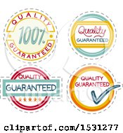 Clipart Of Quality Guaranteed Labels Royalty Free Vector Illustration