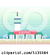 Clipart Of A Tower Over An Airport Royalty Free Vector Illustration