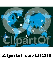 Poster, Art Print Of World Map With Planes And Flight Paths
