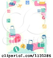Clipart Of A Border Of Baggage And Carousels Royalty Free Vector Illustration