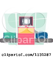 Clipart Of An Xray Machine Scanning Luggage At An Airport Royalty Free Vector Illustration