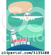 Clipart Of A Plane Communicationg To A Tower Royalty Free Vector Illustration