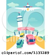 Clipart Of A Bus And Cars Leaving An Airport Royalty Free Vector Illustration by BNP Design Studio