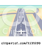 Clipart Of A Plane Ready For Take Off On A Runway Royalty Free Vector Illustration by BNP Design Studio