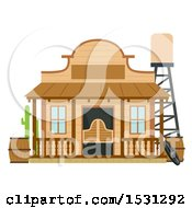 Clipart Of A Wild West Saloon Building Facade Royalty Free Vector Illustration