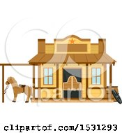 Clipart Of A Wild West Sheriffs Office Building Facade Royalty Free Vector Illustration
