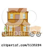 Clipart Of A Wild West Hotel Building Facade Royalty Free Vector Illustration