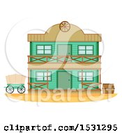 Clipart Of A Wild West Bank Building Facade Royalty Free Vector Illustration