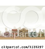Clipart Of A Wild West Ghost Town With Storefronts In Ruin Royalty Free Vector Illustration