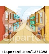Clipart Of A Road Through A Wild West Town Royalty Free Vector Illustration