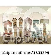 Clipart Of Wild West Buildings And Shadows Forming The Word Ghost Town Royalty Free Vector Illustration