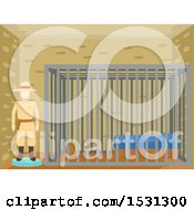 Clipart Of A Wild West Mannequin Sheriff By A Jail Cell Royalty Free Vector Illustration