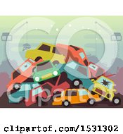 Poster, Art Print Of Pile Of Cars In A Wrecking Yard