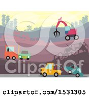 Poster, Art Print Of Busy Wrecking Yard With Heavy Machinery
