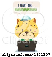 Clipart Of A Cheetah Student Using A Laptop And Waiting For Something To Load Royalty Free Vector Illustration