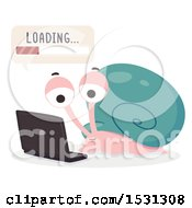 Clipart Of A Snail Student Using A Laptop And Waiting For Something To Load Royalty Free Vector Illustration