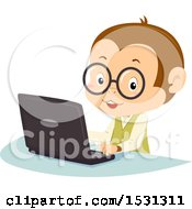Clipart Of A Monkey Student Using A Laptop Royalty Free Vector Illustration