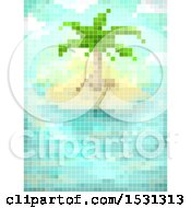 Clipart Of A Pixel Art Tropical Island Royalty Free Vector Illustration