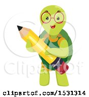 Clipart Of A Tortoise Student Holding A Pencil Royalty Free Vector Illustration by BNP Design Studio