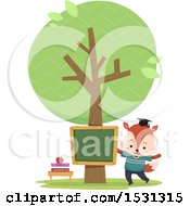 Clipart Of A Fox Student In An Outdoor Class Room Royalty Free Vector Illustration by BNP Design Studio