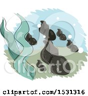 Clipart Of A Group Of Swimming Tadpoles Royalty Free Vector Illustration