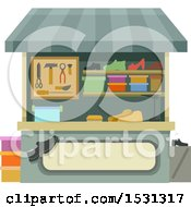 Clipart Of A Shoe Repair Stand Royalty Free Vector Illustration