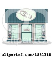 Clipart Of A Shoe Store Facade Royalty Free Vector Illustration