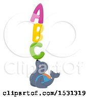 Clipart Of A Seal Student Balancing Abc On His Nose Royalty Free Vector Illustration by BNP Design Studio