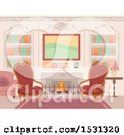Clipart Of A Victorian Living Room Interior With Chairs In Front Of A Fireplace Royalty Free Vector Illustration