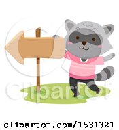 Clipart Of A Raccoon By An Arrow Sign Royalty Free Vector Illustration by BNP Design Studio