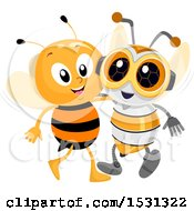 Clipart Of A Bee Hanging Out With A Robot Friend Royalty Free Vector Illustration