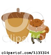 Clipart Of A Squirrel With A Giant Acorn Royalty Free Vector Illustration by BNP Design Studio